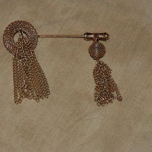Gold Tone Bar Pin with Tassles